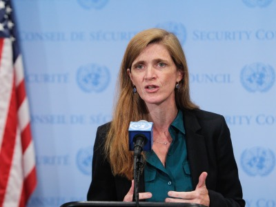 Stakeout by Ambassador Samantha Power, Permanent Representative of the United States of America and President of the Security Council for the month of September after briefing on the United Nations Mission in Liberia